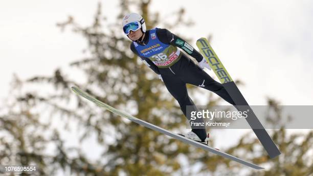 Daiki Ito of Japan competes during training for the 67th FIS Nordic World Cup Four Hills Tournament ski jumping event at Bergisl Schanze on January 3...
