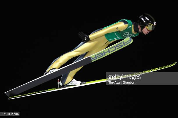 Daiki Ito of Japan competes in the first jump during the Ski Jumping Men's Team Large Hill on day ten of the PyeongChang 2018 Winter Olympic Games at...