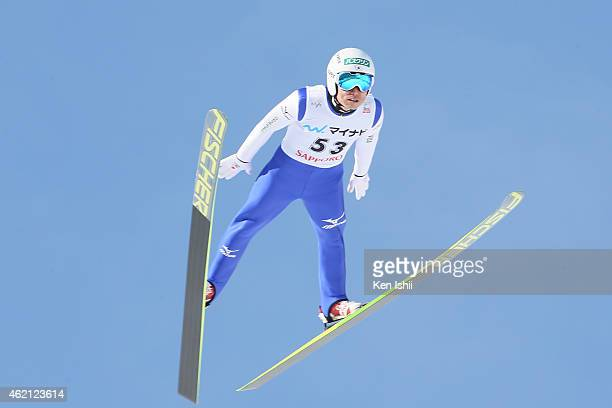 Daiki Ito of Japan competes in the first round in the Large Hill Individual during the day two of FIS Men's Ski Jumping World Cup Sapporo at...