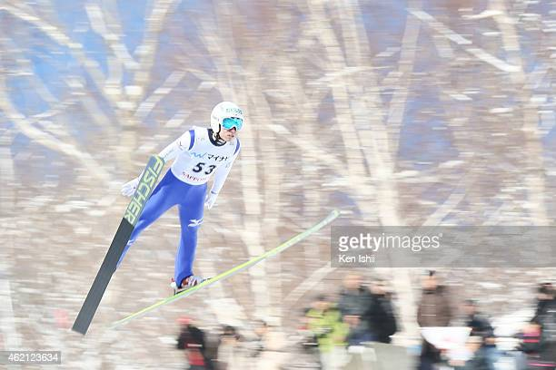 Daiki Ito of Japan competes in the Large Hill Individual Qualification during the day two of FIS Men's Ski Jumping World Cup Sapporo at Okurayama Ski...