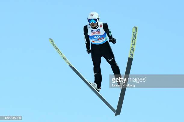 Daiki Ito of Japan competes in the Men's Nordic HS 109 Qualification Ski Jumping Competition at the 2019 FIS Nordic World Ski Championships at Toni...