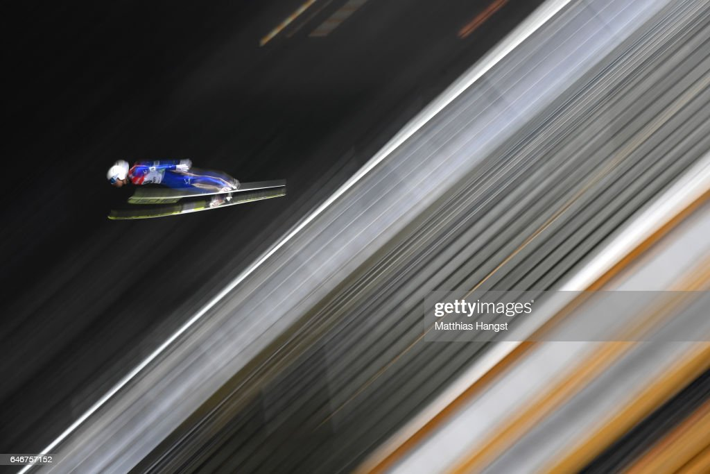 Daiki Ito of Japan competes in the Men's Ski Jumping HS130 qualification round during the FIS Nordic World Ski Championships on March 1, 2017 in Lahti, Finland.