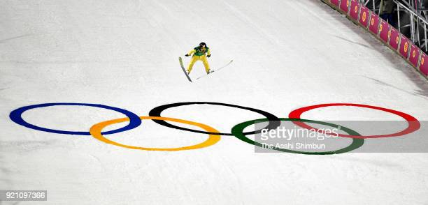 Daiki Ito of Japan competes in the second jump during the Ski Jumping Men's Team Large Hill on day ten of the PyeongChang 2018 Winter Olympic Games...