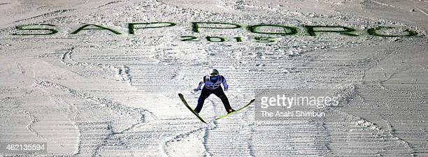 Daiki Ito of Japan competes in the second round of the Large Hill Individual during day two of the FIS Men's Ski Jumping World Cup Sapporo at...