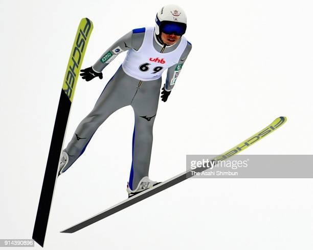 Daiki Ito of Japan competes in the Ski Jumpin UHB Cup at Okurayama Ski Jumping Stadium on February 3 2018 in Sapporo Hokkaido Japan