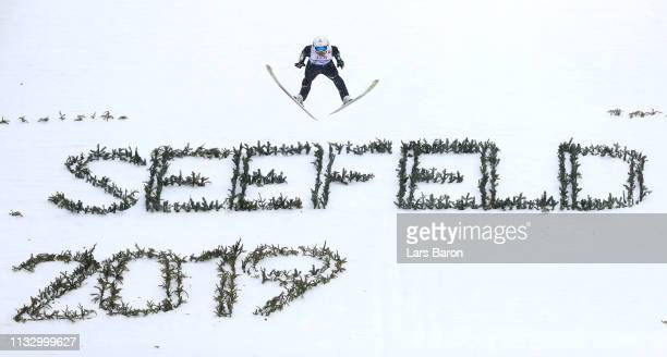 Daiki Ito of Japan competes in the ski jumping Men's HS109 leg during the 2019 FIS World Ski Championships at Toni Seelos Schanze on March 01 2019 in...