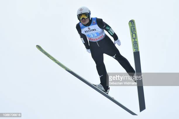 Daiki Ito of Japan competes on day 4 of the 67th FIS Nordic World Cup Four Hills Tournament ski jumping event on January 01 2019 in...