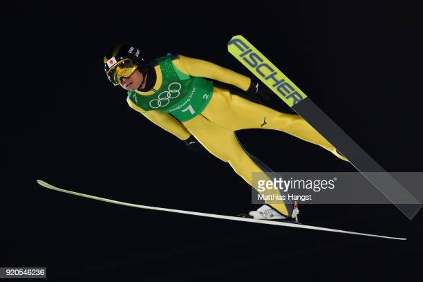 Daiki Ito of Japan during the Ski Jumping Men's Team Large Hill on day 10 of the PyeongChang 2018 Winter Olympic Games at Alpensia Ski Jumping Center...