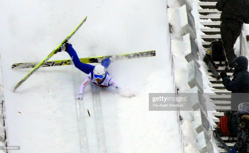 Daiki Ito of Japan fails to start and slides down during day two of the FIS Ski Jumping World Cup Sapporo at Okurayama Jump Stadium on January 20, 2013 in Sapporo, Hokkaido, Japan. Ito disqualified for second jump, finished 30th.