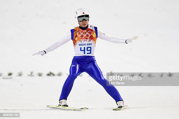 Daiki Ito of Japan finishes a jump during the Men's Large Hill Individual Qualification on day 7 of the Sochi 2014 Winter Olympics at the RusSki...