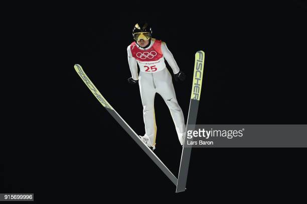 Daiki Ito of Japan jumps during Men's Normal Hill Individual Trial Round for Qualification at Alpensia Ski Jumping Centre on February 8 2018 in...