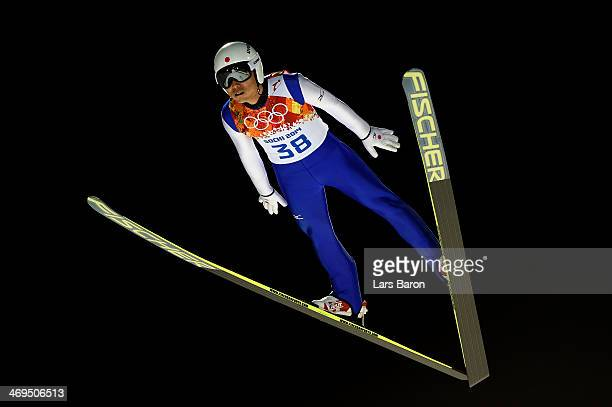 Daiki Ito of Japan jumps during the Men's Large Hill Individual 1st Round on day 8 of the Sochi 2014 Winter Olympics at the RusSki Gorki Ski Jumping...