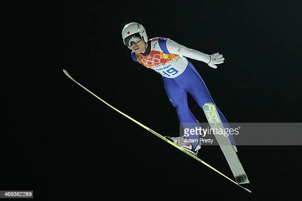 Daiki Ito of Japan jumps during the Men's Large Hill Individual Qualification on day 7 of the Sochi 2014 Winter Olympics at the RusSki Gorki Ski...