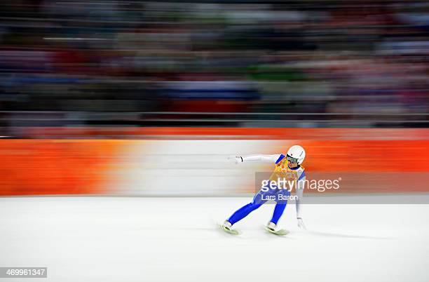 Daiki Ito of Japan jumps during the Men's Team Ski Jumping final round on day 10 of the Sochi 2014 Winter Olympics at the RusSki Gorki Ski Jumping...