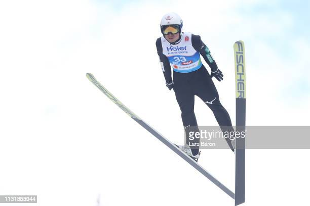 Daiki Ito of Japan jumps during the qualification round of the HS130 men's ski jumping Competition of the FIS Nordic World Ski Championships at...