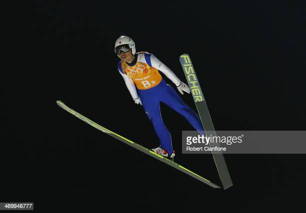 Daiki Ito of Japan jumps during the Ski Jumping Men's Team Large Hill final round on day 10 of the Sochi 2014 Winter Olympics at RusSki Gorki Jumping...