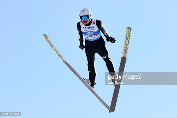 Daiki Ito of Japan jumps in the trial round during the Ski Jumping Large Hill HS130 competition at Bergisel Schanze on February 23 2019 in Innsbruck...
