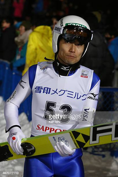 Daiki Ito of Japan looks on after the second round in the Large Hill Individual during the day one of FIS Men's Ski Jumping World Cup Sapporo at...