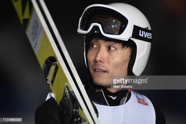Daiki Ito of Japan looks on during day one of the FIS Ski Jumping World Cup Sapporo at Okurayama Jump Stadium on January 26 2019 in Sapporo Hokkaido...