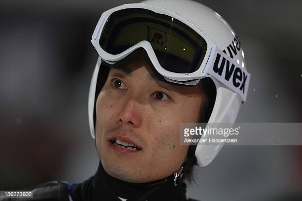 Daiki Ito of Japan looks on during the final round at the FIS Ski Jumping World Cup event of the 60th Four Hills ski jumping tournament at Erdinger...