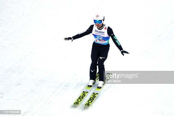 Daiki Ito of Japan reacts after his final round jump during the Ski Jumping Large Hill HS130 competition at Bergisel Schanze on February 23 2019 in...
