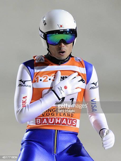 Daiki Ito of Japan reacts during the FIS Men's Worldcup Ski Jumping Day 1 at Skiarena Klingenthal on November 23 2013 in Klingenthal Germany
