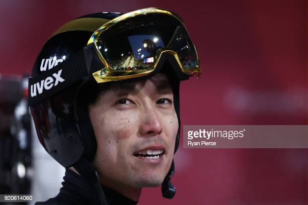 Daiki Ito of Japan reacts during the Ski Jumping Men's Team Large Hill on day 10 of the PyeongChang 2018 Winter Olympic Games at Alpensia Ski Jumping...