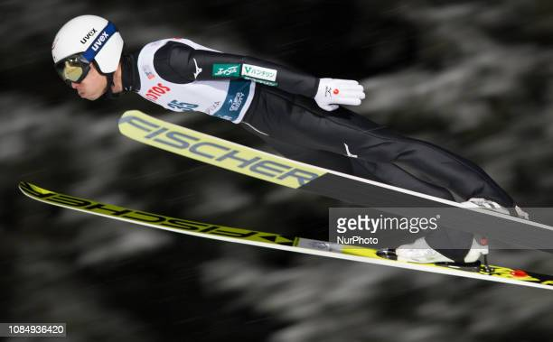 Daiki Ito of Japan soars in the air during qualification round on January 18 2019 in Zakopane Poland