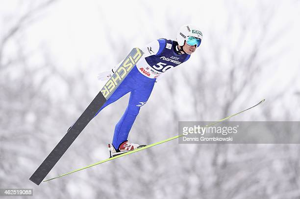 Daiki Ito of Japan soars through the air during his first training jump on Day One of the FIS Ski Jumping World Cup on January 30 2015 in Willingen...