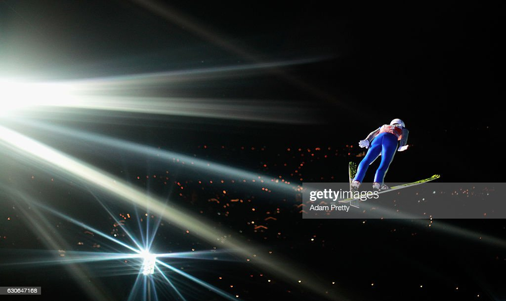 Daiki Ito of Japan soars through the air during his qualification jump on Day 1 of the 65th Four Hills Tournament ski jumping event on December 29, 2016 in Oberstdorf, Germany.