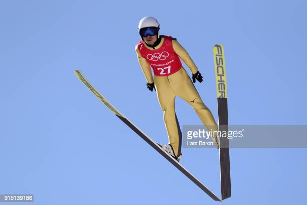 Daiki Ito of Japan trains for the Men's Normal Hill Ski Jumping ahead of the PyeongChang 2018 Winter Olympic Games at Alpensia Ski Jumping Centre on...