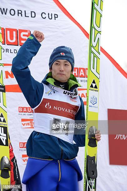 Daiki Ito poses on the podium after winning the FIS Ski Jumping Sapporo at Okurayama Jum Stadium on January 29 2012 in Sapporo Hokkaido Japan