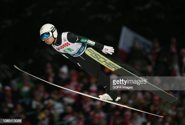 Daiki Ito seen in action during the team competition of the FIS Ski Jumping World Cup in Zakopane