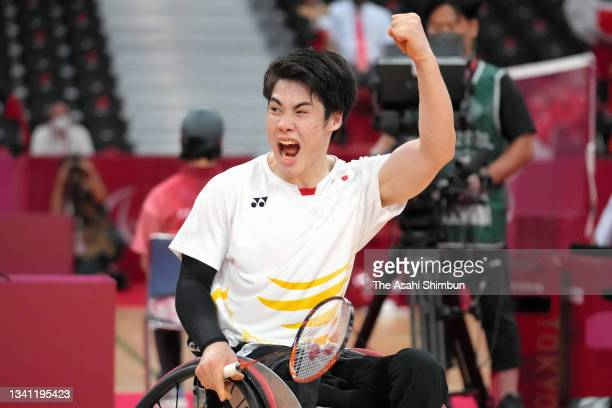 Daiki Kajiwara of Team Japan celebrates winning the gold medal after his victory in the Badminton Men's Singles WH2 Gold Medal match against Kim Jung...