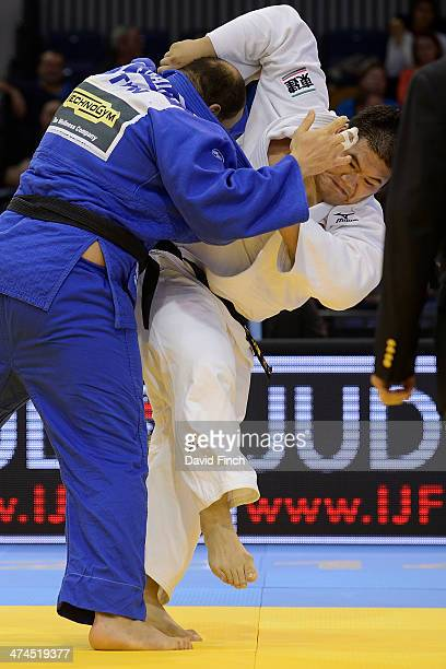 Daiki Kamikawa of Japan attacks during the over 100kg final eventually winning the gold medal after his opponent Faicel Jaballah of Tunisia was...