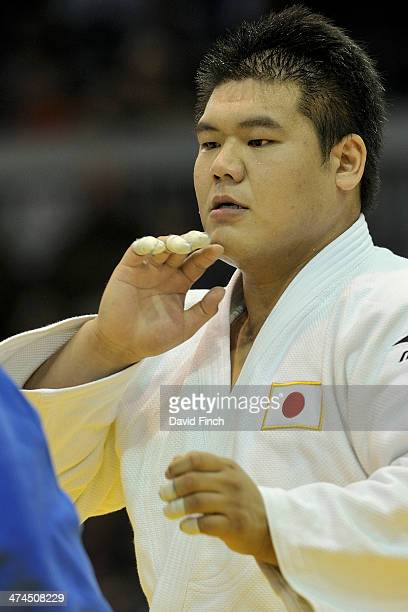 Daiki Kamikawa of Japan during the over 100kg final eventually winning the gold medal after his opponent Faicel Jaballah of Tunisia was disqualified...