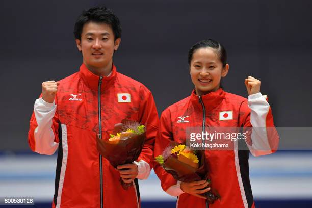 Daiki Kishi and his sister Ayano Kishi pose for photographs as they selected as members of Japan national team together after the day two of the 32nd...