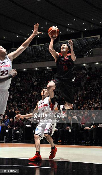 Daiki Tanaka of Alvark Tokyo leaps for a layup during the 92nd Emperor's Cup All Japan Men's Basketball Championship semi final match between...