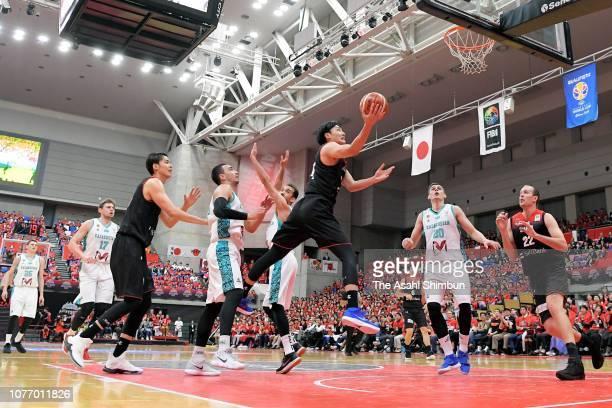Daiki Tanaka of Japan shoots during the FIBA World Cup Asian Qualifier Group F match between Japan and Kazakhstan at Toyama City Gymnasium on...