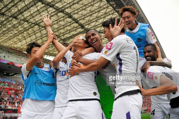 Daiki Watari of Sanfrecce Hiroshima celebrates scoring his side's fourth goal during the JLeague J1 match between Urawa Red Diamonds and Sanfrecce...