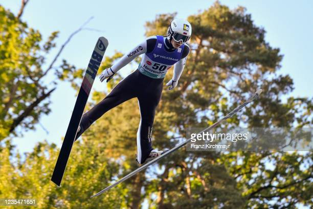 Dail Sareev of Russia competes during the FIS Grand Prix Skijumping Hinzenbach at on February 6, 2021 in Eferding, Austria.