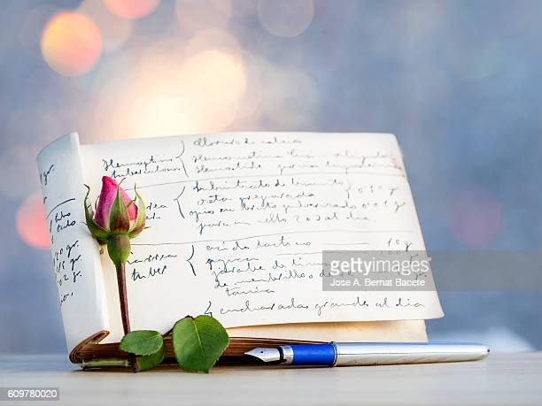 daily ancient book of memories, corresponded with pen of ink, on a table with a flower - poet stock pictures, royalty-free photos & images
