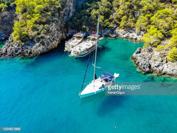 daily boat trip. sea tourism. - mugla province stock pictures, royalty-free photos & images