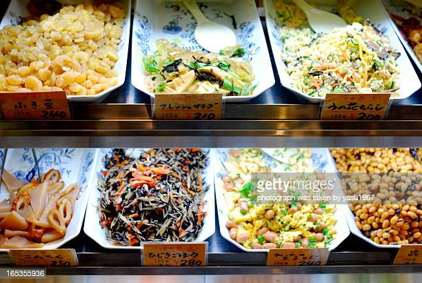 daily dishes shop in kyoto - nishiki market stock photos and pictures
