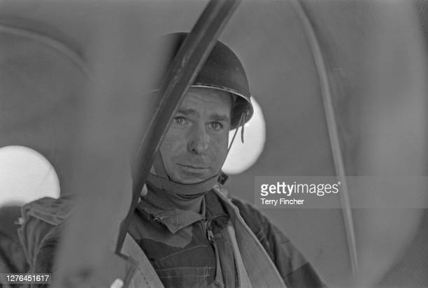 Daily Express Terry Fincher during a parachuting exercise, October 1965.