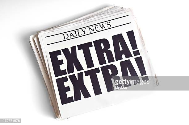 Daily Extra! Newspaper Headline on White Background