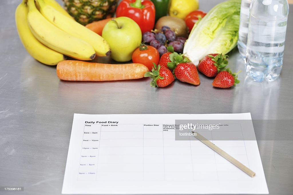 Daily Food Diary And Healthy Eating Options : Stock Photo