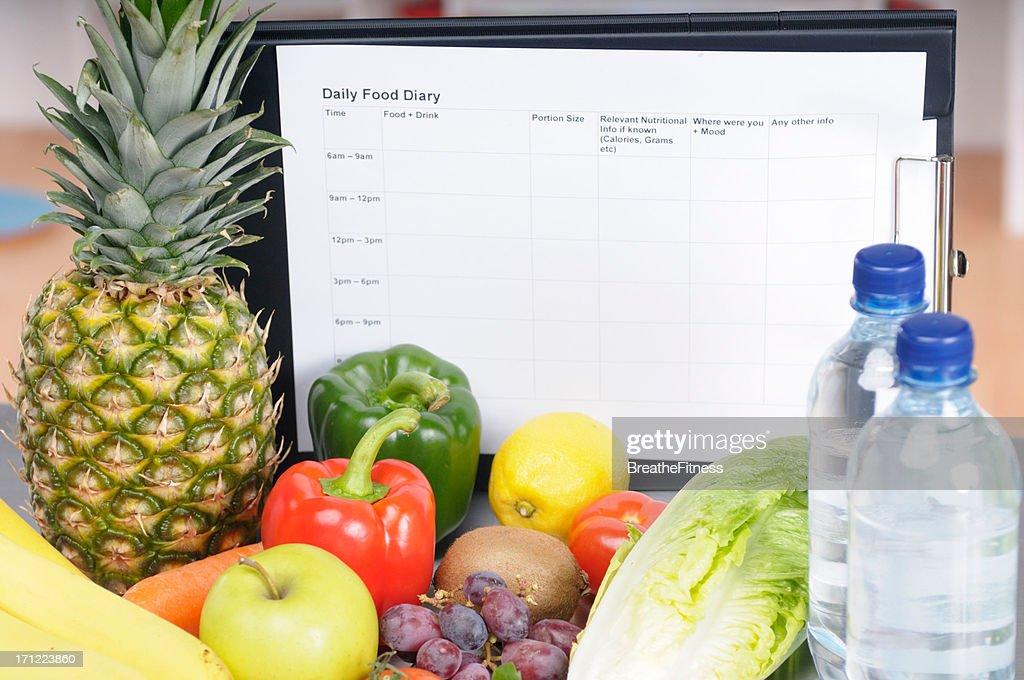 Daily Food Diary : Stock Photo