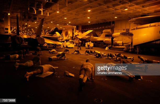 Daily life aboard the aircraft carrier USS Constellation January 10 2003 in the Persian Gulf War planes from the carrier carried out daily missions...
