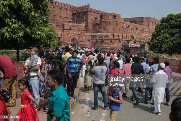 Daily life in Agra city India A city of Uttar Pradesh with a population of 17 million people on the banks of the river Yamuna The famous Taj Mahal a...